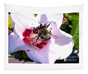 Bumble Bee Making His Escape From Hibiscus Flower Tapestry