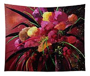 Bunch Of Red Flowers Tapestry