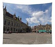 Burg Square In Bruges Belgium Tapestry
