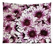 Burgundy White Crysanthemums Tapestry