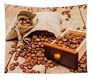 Burlap Bag Of Coffee Beans And Drawer Tapestry