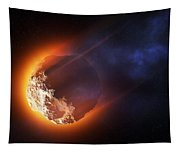 Burning Asteroid Entering The Atmoshere Tapestry