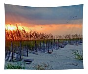 Burning Grasses And The Fence Tapestry