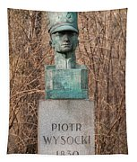 Bush Behind Piotr Wysocki Bust Tapestry