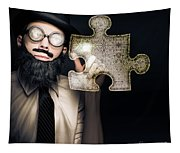 Businessman Puzzle Solving With Digital Solutions Tapestry