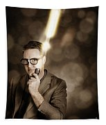 Businessman With Bright Solution Idea Tapestry