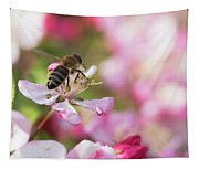 Busy Bee On A Crabapple Tree Tapestry