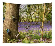Butterflies In A Bluebell Woodland Tapestry