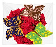 Butterflies On Roses Tapestry