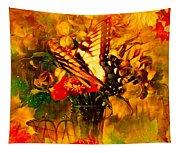 Butterfly Atop Flower Arrangement Tapestry
