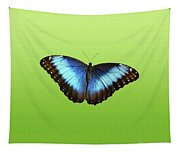 Butterfly Blue Morpho On Green Tapestry
