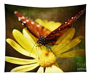 Butterfly On A Daisy  Tapestry