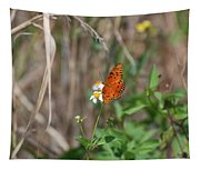 Butterfly On Flower Tapestry
