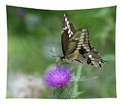 Butterfly On Thistle Flower Tapestry