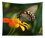 Butterfly With Orange Flower Tapestry