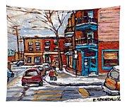 Buy Original Wilensky Montreal Paintings For Sale Achetez Petits Formats Scenes De Rue Street Scenes Tapestry