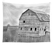 Bw Rustic Barn Lightning Strike Fine Art Photo Tapestry