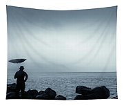 By The Sea In The Wind And Rain Tapestry