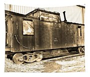 Caboose Black And White Tapestry