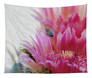 Cactus Flower And A Busy Bee Tapestry