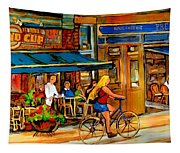Cafes With Blue Awnings Tapestry