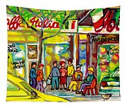 Caffe Italia And Milano Charcuterie Montreal Watercolor Streetscenes Little Italy Paintings Cspandau Tapestry