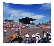 Calf Roping Event At Ellensburg Rodeo Tapestry
