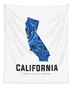 California Map Art Abstract In Blue Tapestry