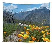 California Poppy And Mountain Panorama Tapestry