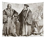 Calvin And Servetus Before The Council Of Geneva Tapestry