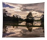 Cambodian Countryside Rice Fields Reflection Tapestry