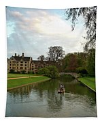 Cambridge Clare College Stream Boat And Boys Tapestry