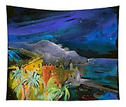 Camogli By Night In Italy Tapestry