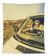 Camper Man On Adventure Tapestry