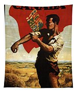 Canada - Canadian Pacific Railway - Flag - Retro Travel Poster - Vintage Poster Tapestry