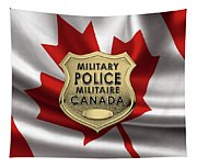 Canadian Forces Military Police C F M P  -  M P Officer Id Badge Over Canadian Flag Tapestry