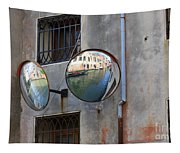 Canals Reflected In Mirrors In Venice Italy Tapestry