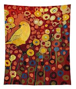 Canary In Red Tapestry
