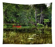 Canoe Among The Reeds Tapestry