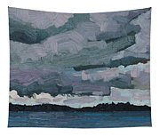 Canoe Lake Rain Clouds Tapestry