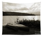Canoe On A Shore Of A Lake At Dawn Tapestry