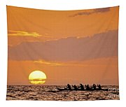 Canoeing At Sunset Tapestry