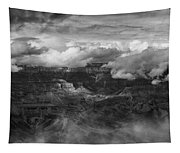 Canyon In Clouds Bw Tapestry