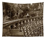 Car On A Wooden Railroad Trestle Circa 1916 Tapestry