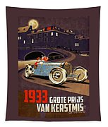 Car Racing Christmas Poster Of The 30s Tapestry
