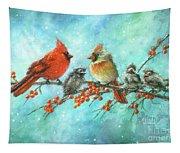 Cardinal Family Three Kids Tapestry