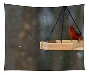 Cardinal Feeding In Snow Tapestry