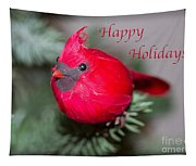 Cardinal Happy Holidays Tapestry