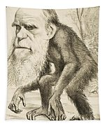 Caricature Of Charles Darwin Tapestry