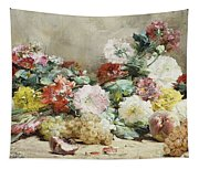 Carnations, Roses, Grapes And Peaches Tapestry